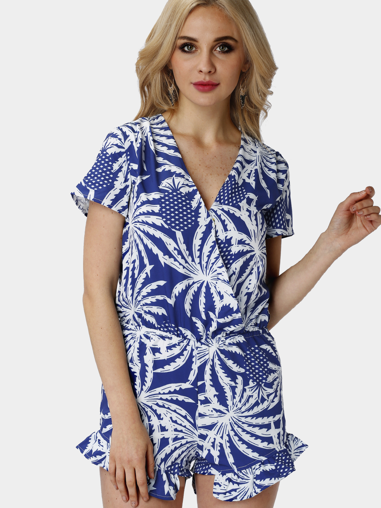 Blue Palm Print Short Sleeve Wrap-over Playsuit with Frill Hem pearl detail layered frill sleeve top