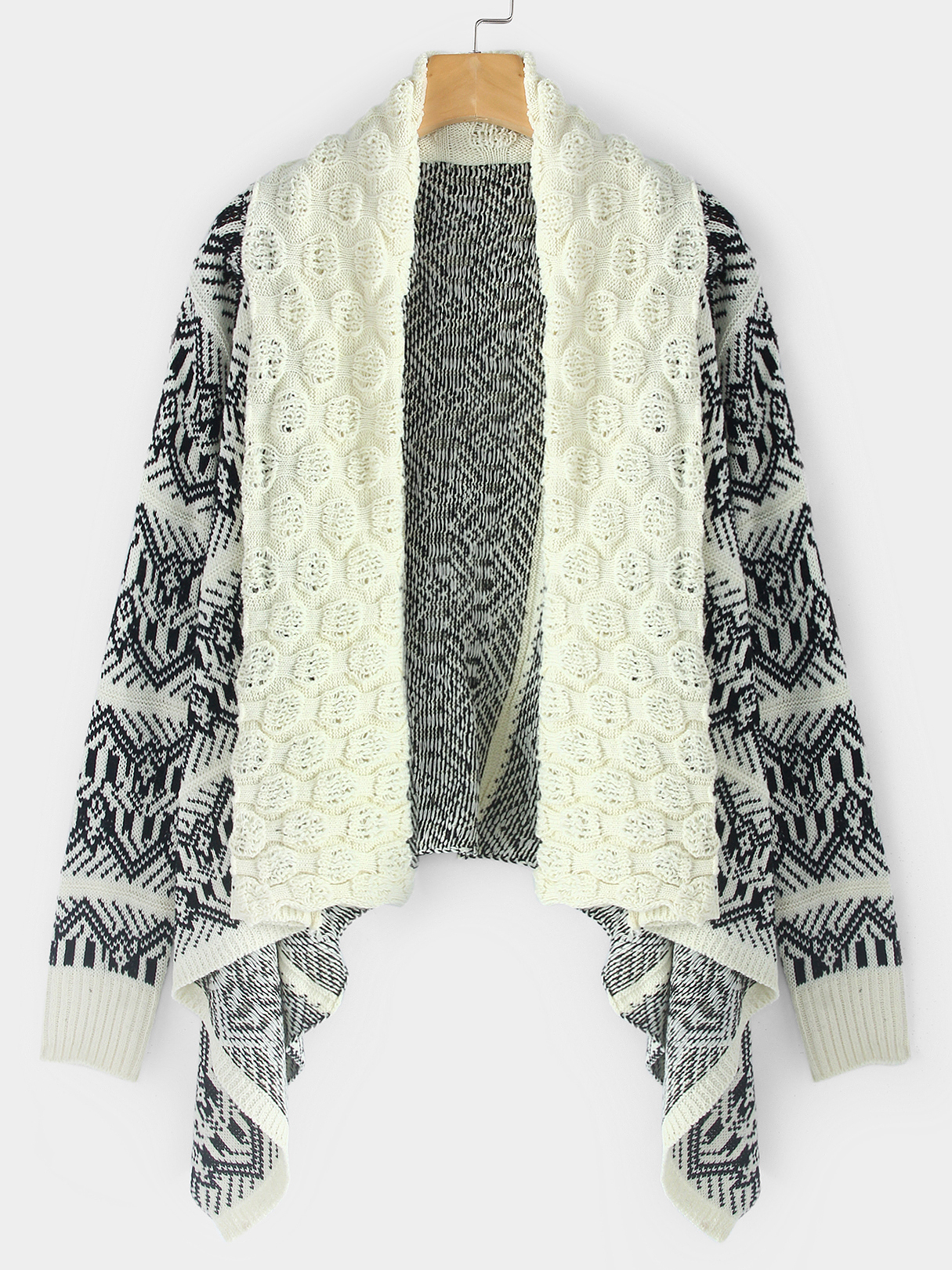 Beige Geometric Patterns Long Sleeves Cardigan