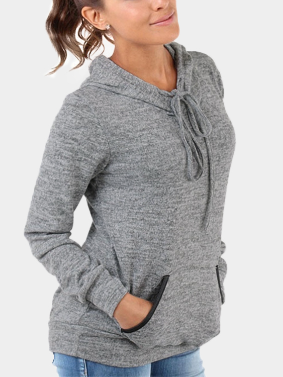 Grey Front Patch Pocket Long Sleeves Hooded Sweatshirt grey layered contrast color hooded strappy front sweatshirt