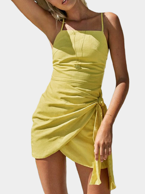 Yellow Cami Straps Lace-up Design Slit Hem Dress plus solid split hem cami dress