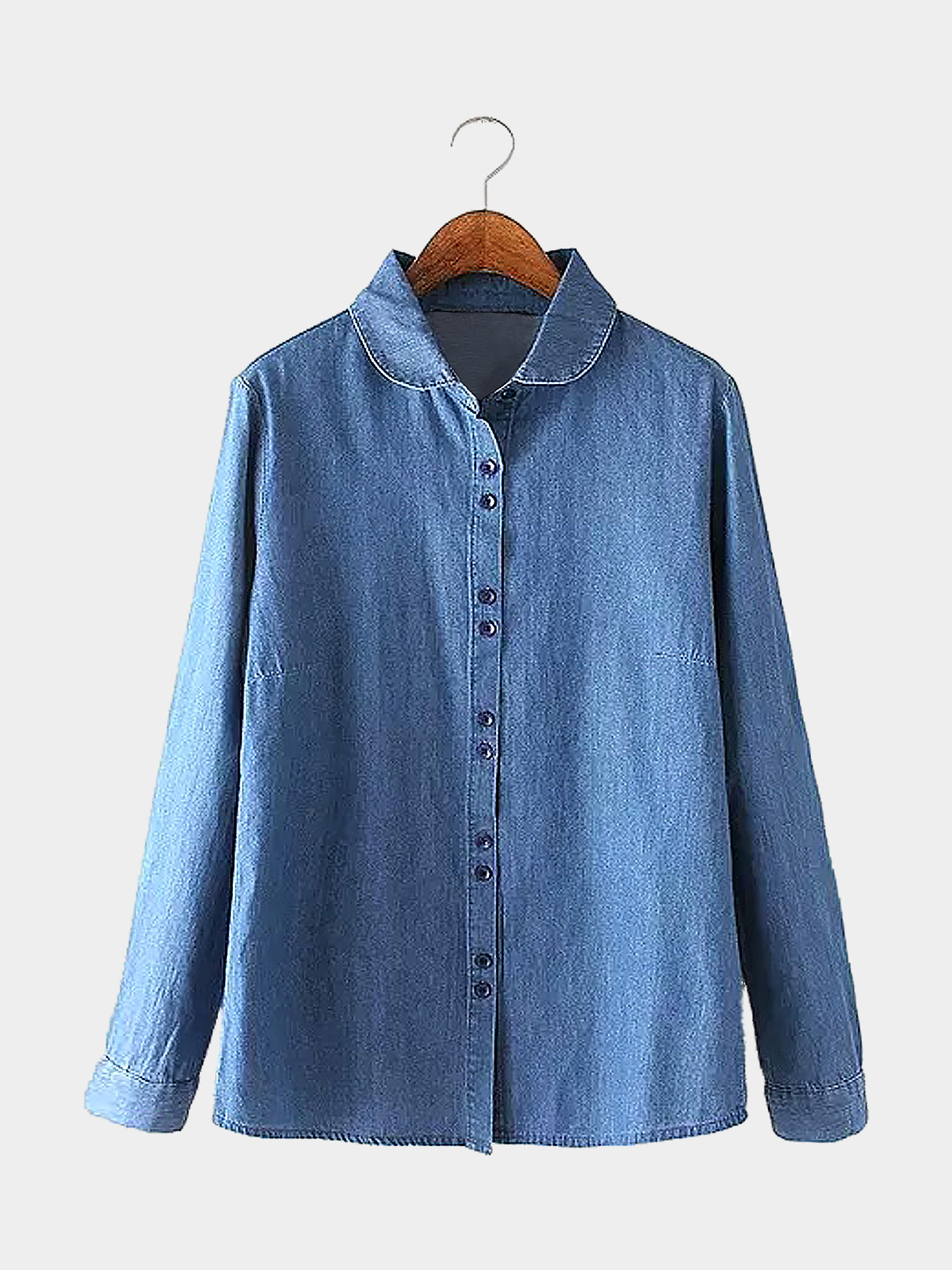 Long Sleeve Denim Shirt with Doll Collar