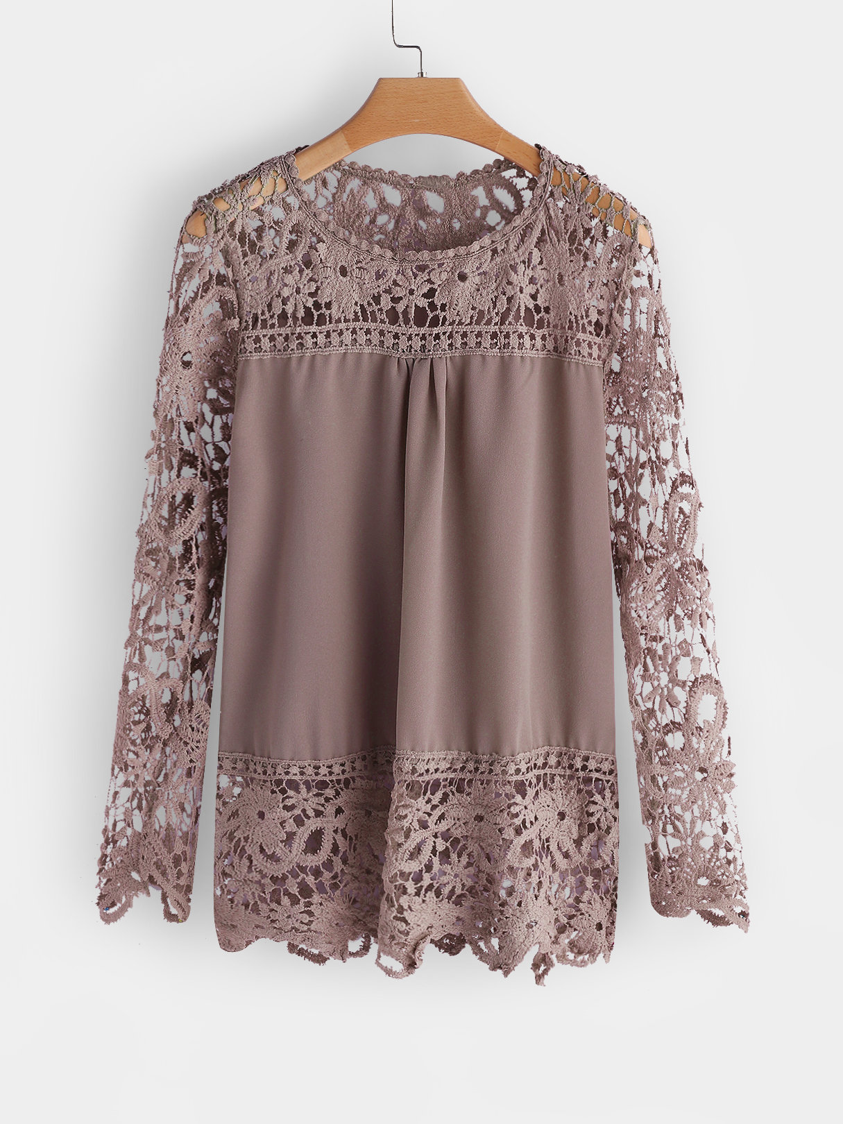 Khaki See-through Lace Round Neck Long Sleeves Top