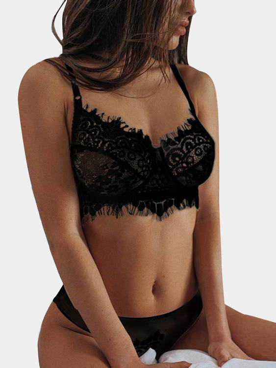 Black Lace Details Sexy Lingerie Set with No Falsies black lace details sexy no falsies lingerie set