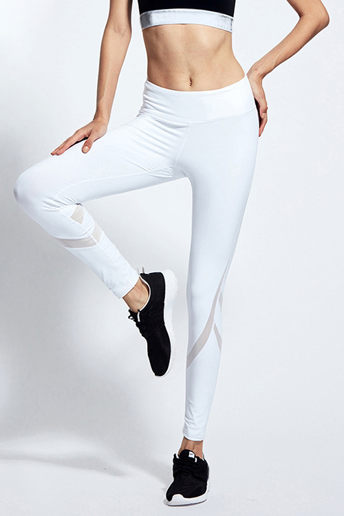 White Mesh Stitching Rapidry Gym Legging after you