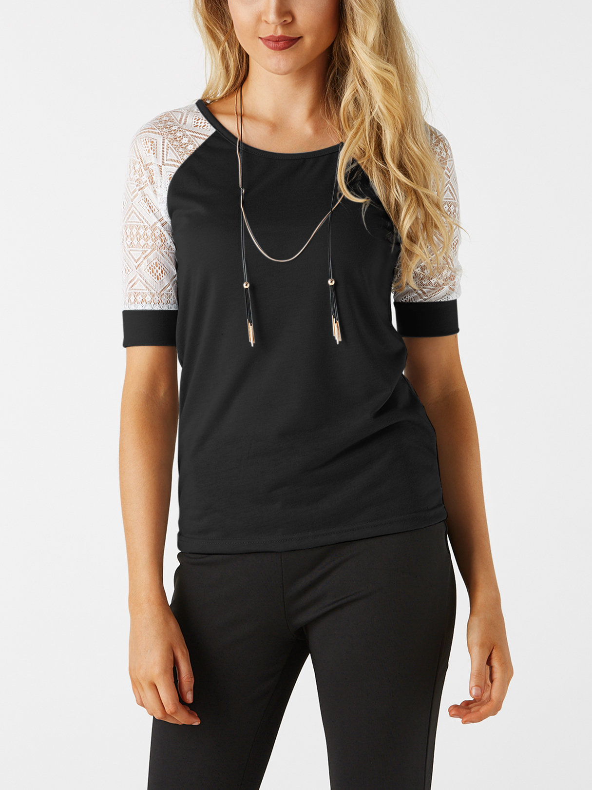 Black Lace Details Round Neck Short Sleeves T-shirts black hollow out round neck short sleeves t shirt