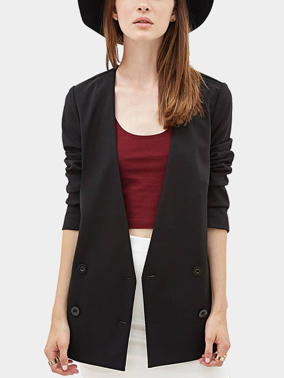 Black Long Sleeves V-neck Double Breasted Blazers