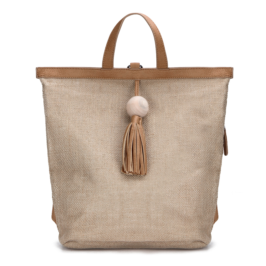 Straw-Woven Backpack with Tassel Embellished