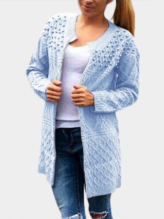 Blue Beaded Cable Knit Long Sleeves Cardigan