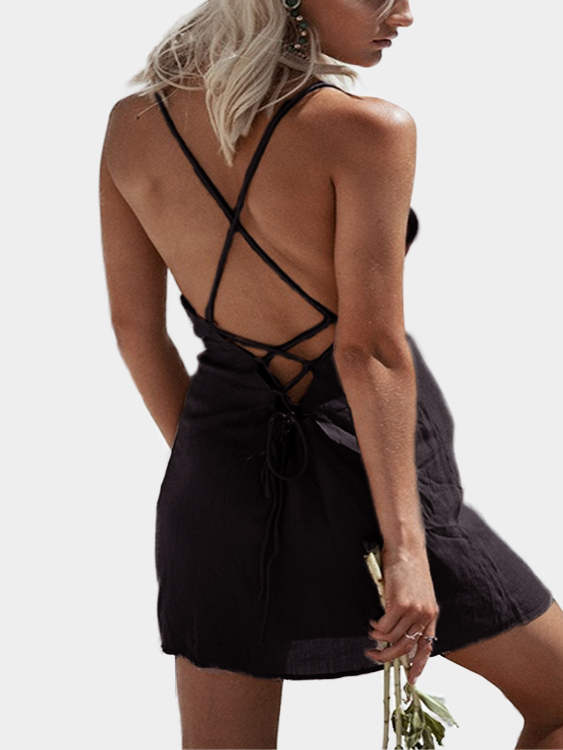 Black Open Back Lace-up Spaghetti Square Neck Sleeveless Sexy Mini Dress waterproof integrated automotive relay 12v 4 feet 40a normally open with a line containing a socket