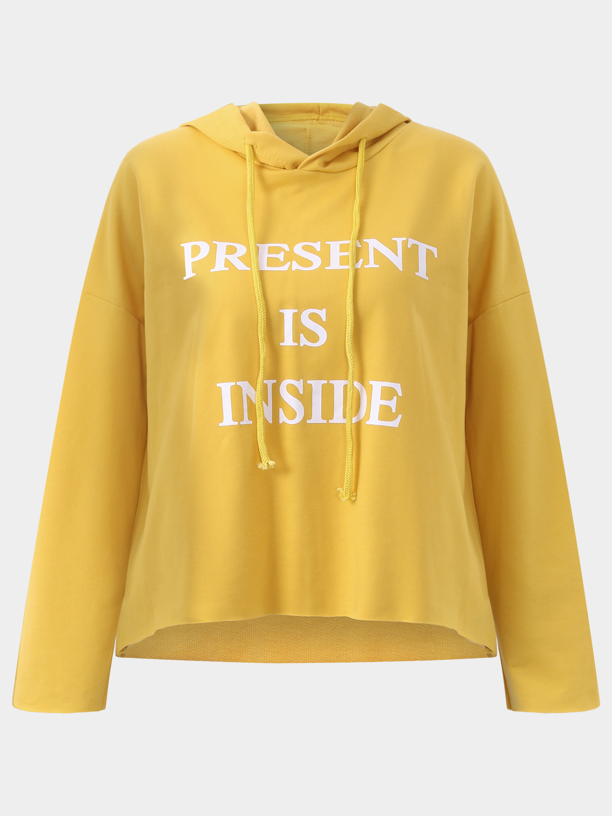 Active Cut Out Round Neck Letter Pattern Sports Hoodies in Yellow active cut out letter pattern weave sleeves sweatshirts in white