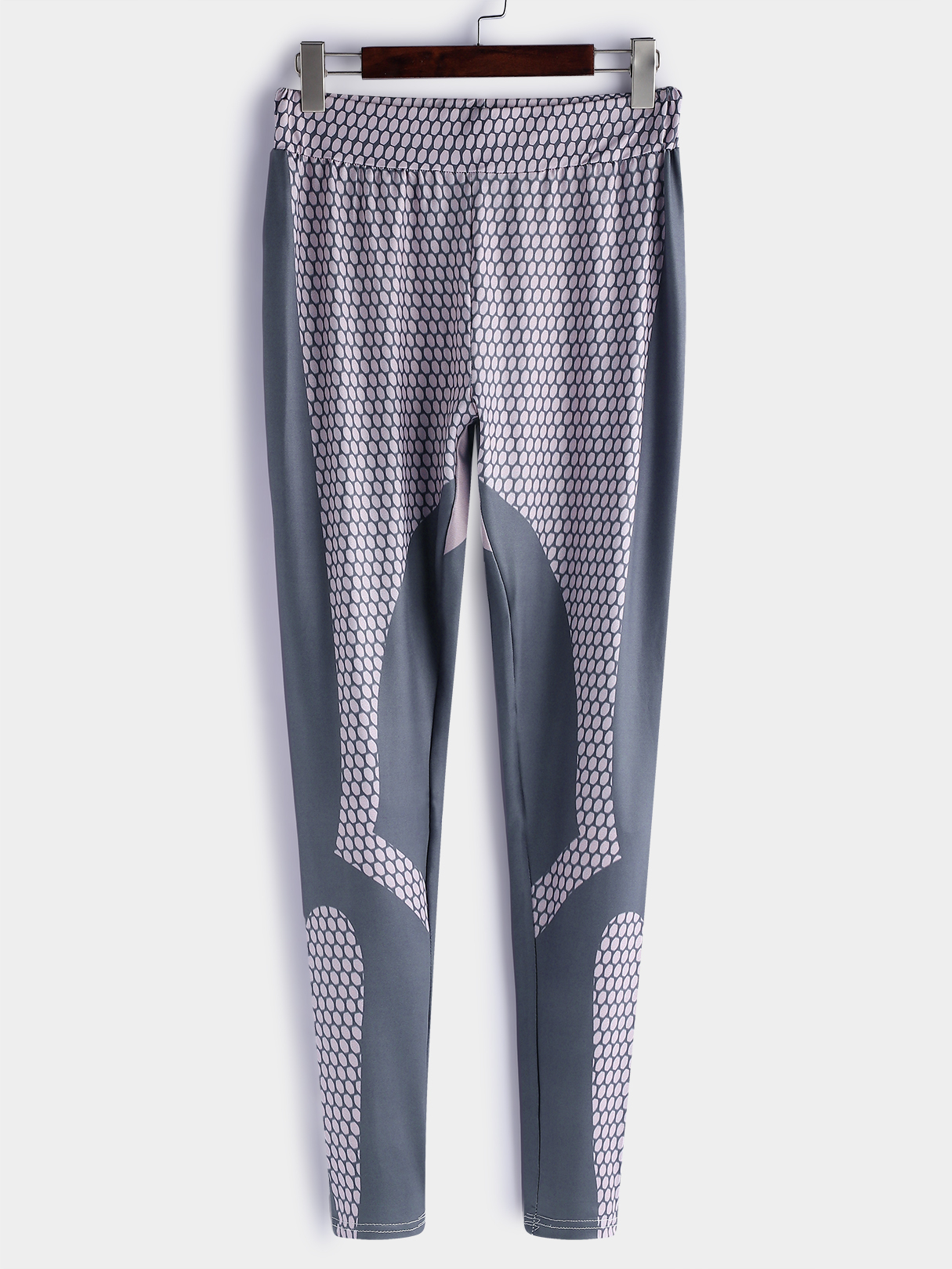 Active Geometrical Pattern Gym Leggings in Grey geometrical pattern cape loose sweater with taeesl details