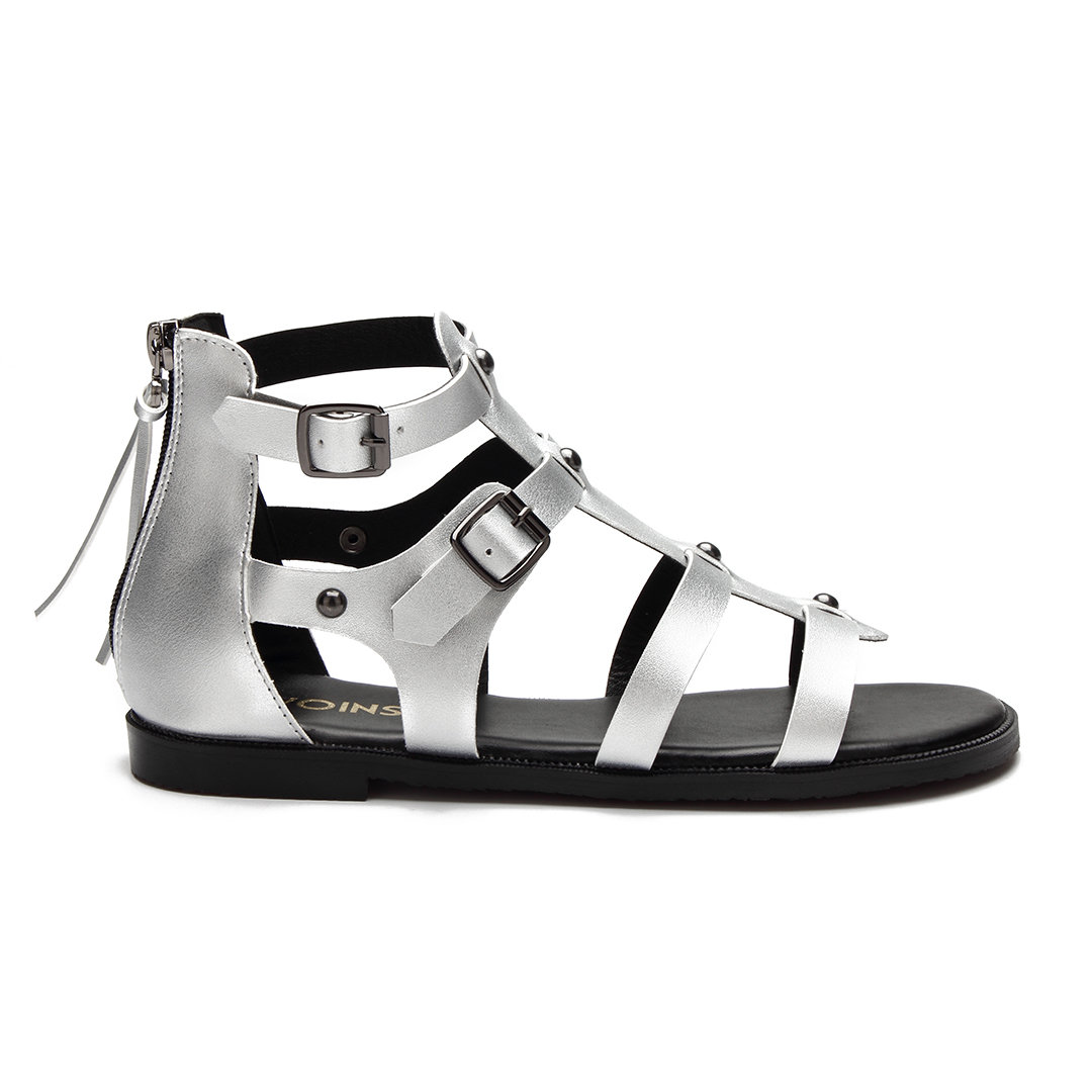 Silver Leather Look Gladiator Flat Sandals