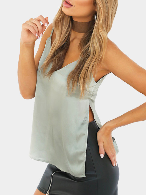Argenteous V-neck Slit Hem Cami Top argenteous v neck slit hem cami top