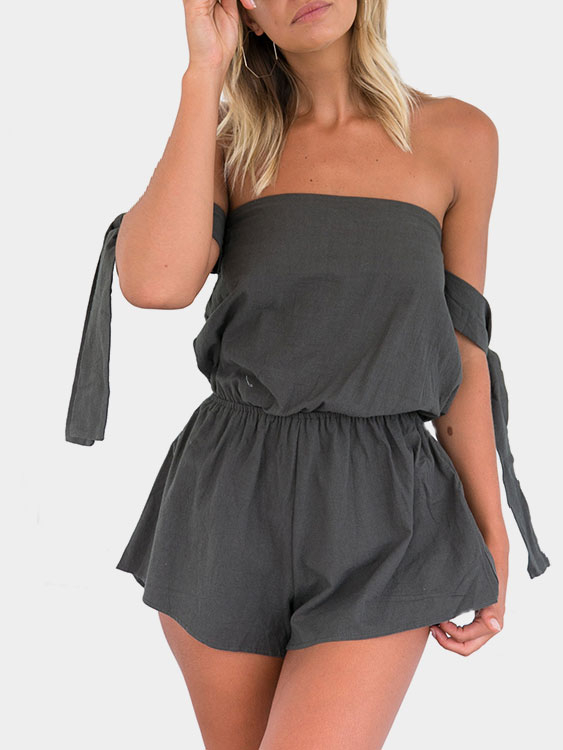 Dark Gray Off The Shoulder Backless Mini Playsuit