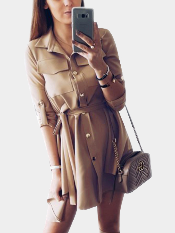 Khaki Basic Collar Lace-up Design Single Breasted Button Long Sleeves Shirt Dress все цены