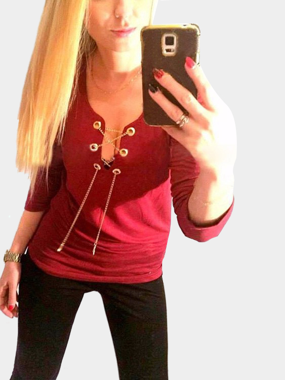 Red Sexy Metal Chain Plunge Blouse it role in supply chain management
