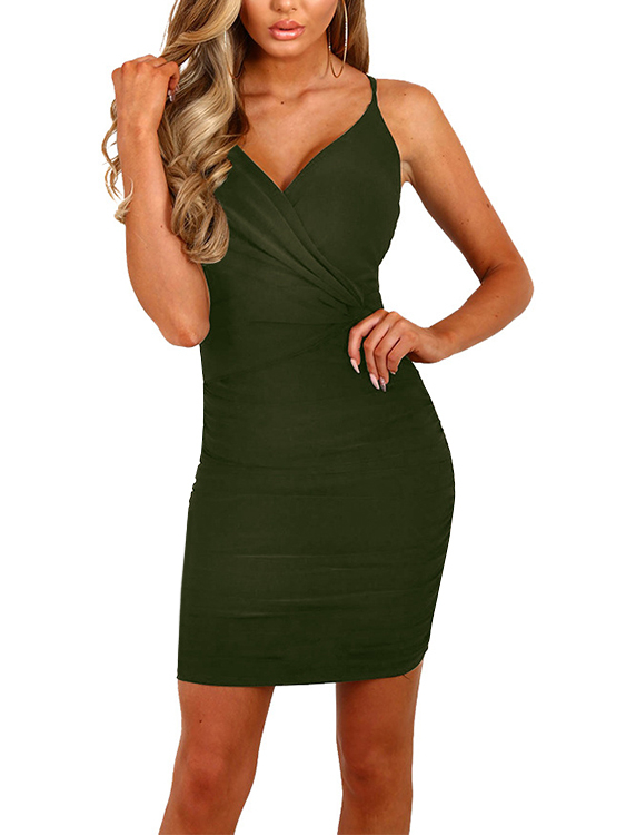 Army Green Crossed Front V-neck Mini Dress orange pleated design zipper front sleeveless sexy mini dress