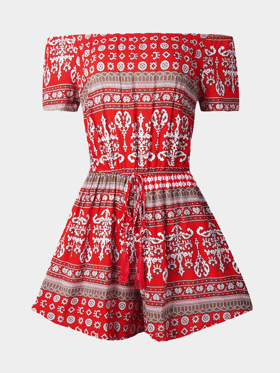 Red Bohemia Print Off-Shoulder Drawstring Waist Playsuit