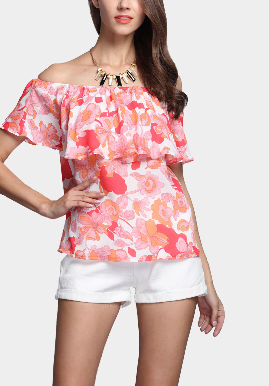 Random Floral  Print Off Shoulder Top with Layered Details