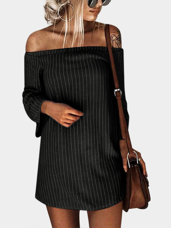 Black Sexy Off Shoulder Lace Up Stripe Pattern Mini dress