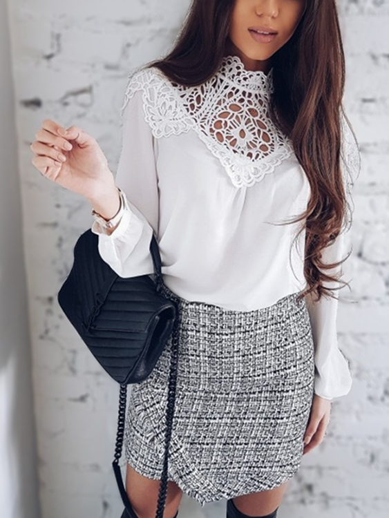 White Crochet Lace Hollow Out Long Sleeves Chiffon Blouse hollow out crochet panel blouse