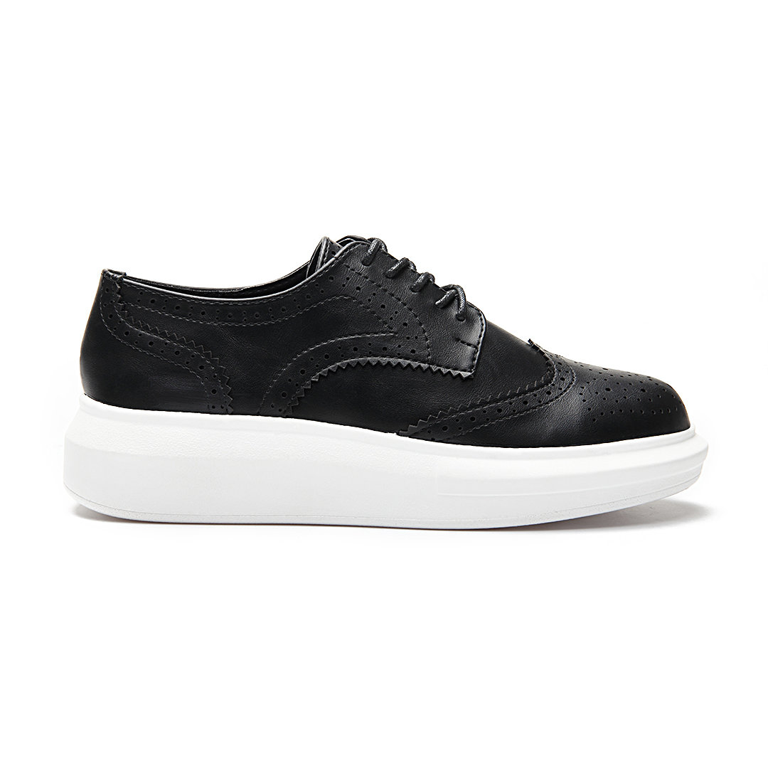 Black Leather Look Round Toe Carving Lace-up Paltform Sneakers
