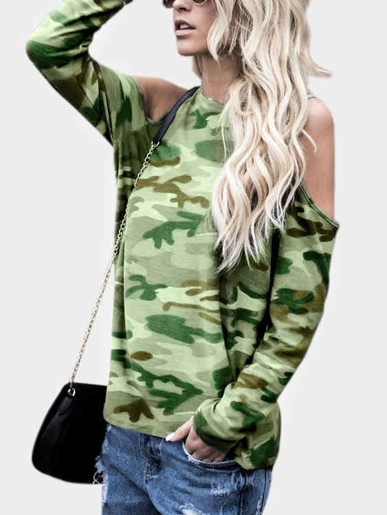 Camouflage Cold Shoulder Long Sleeves T-shirt or fabric camouflage leaf headgear