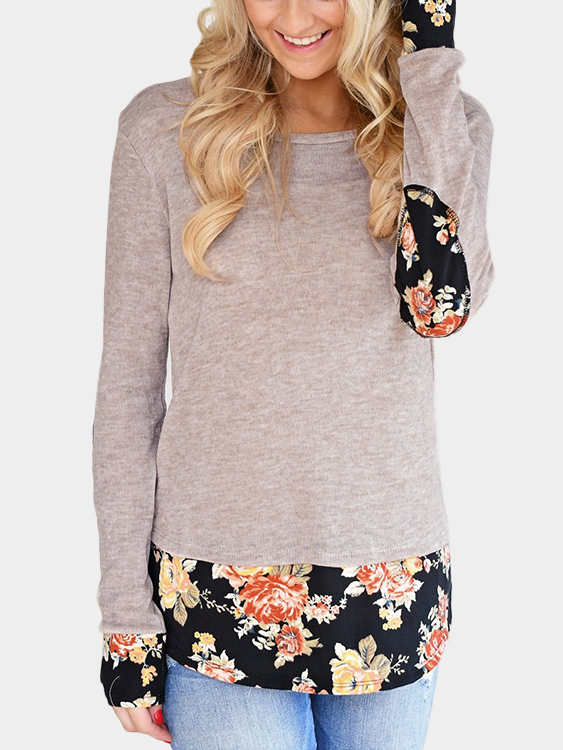 Light Khaki Floral Elbow Patch Splicing T-Shirt dark grey elbow patch round neck long sleeves top