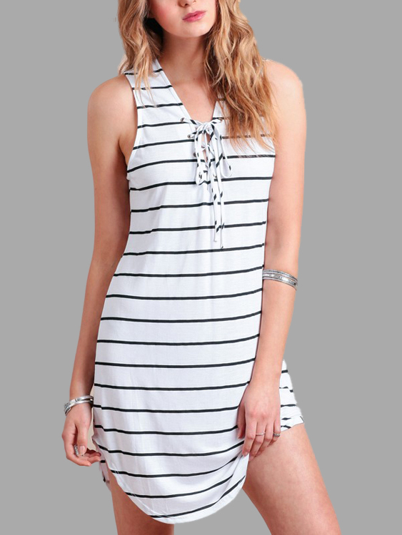 Sleeveless Self-tie Front Stripe Pattern Mini Dress