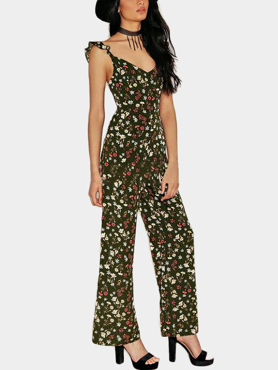 Random Floral Print V-neck Open Back Jumpsuit in Armygreen аксессуары для косплея random beauty cosplay