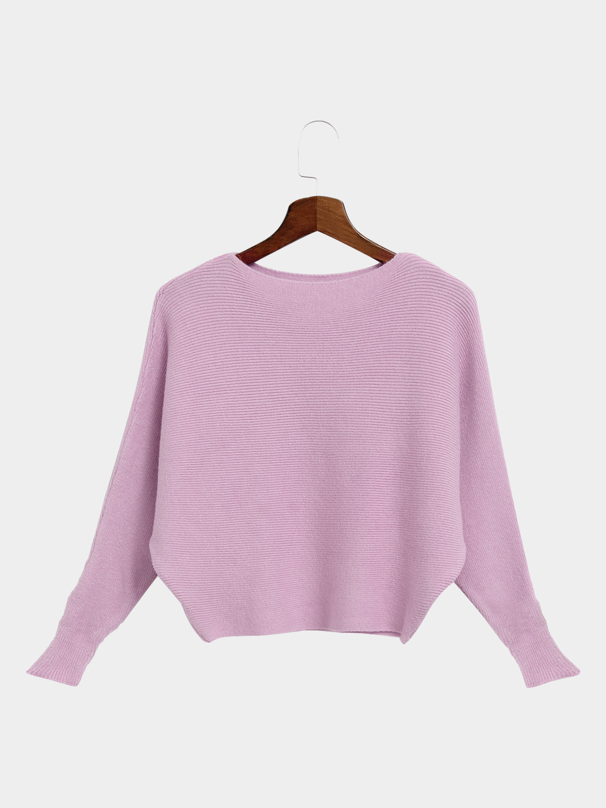 Pink Sexy Pullover Bat Sleeves Loose Jumper
