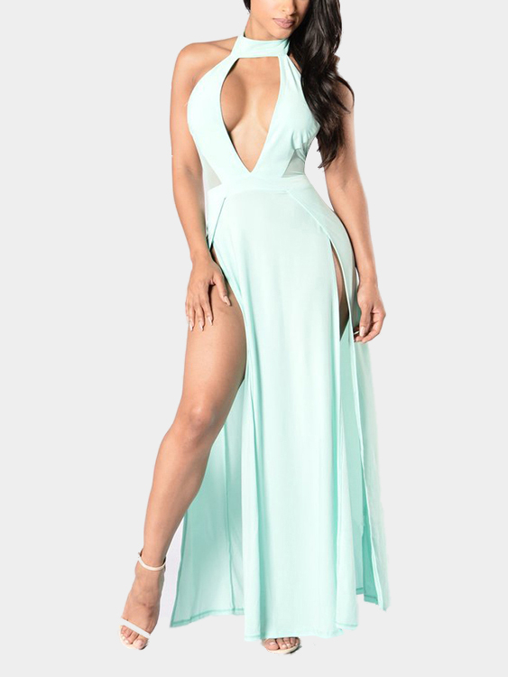Sexy Open Back Slit Hem Maxi Dress