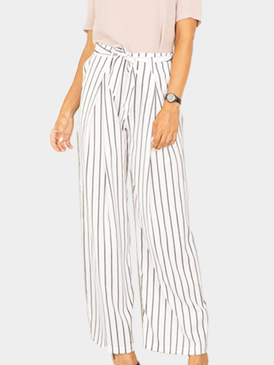 White High-rise Stripe Wide-leg Pants with Tie