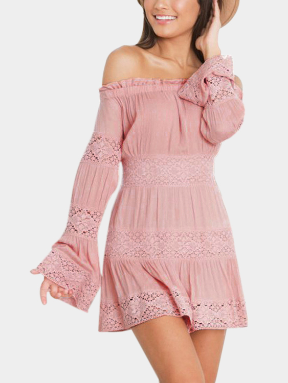 Pink Lace Details Off Shoulder Long Sleeves Mini Dress zip back fit and flared plaid dress
