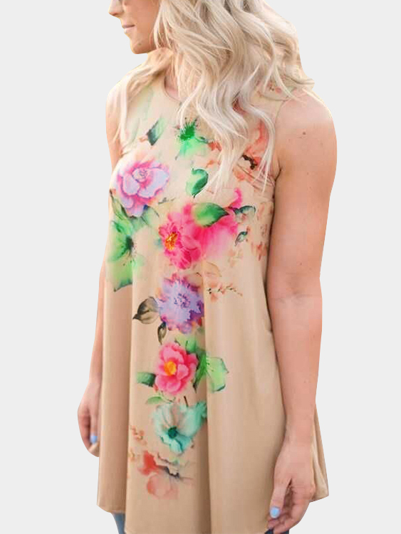 Khaki Random Floral Printed Dress