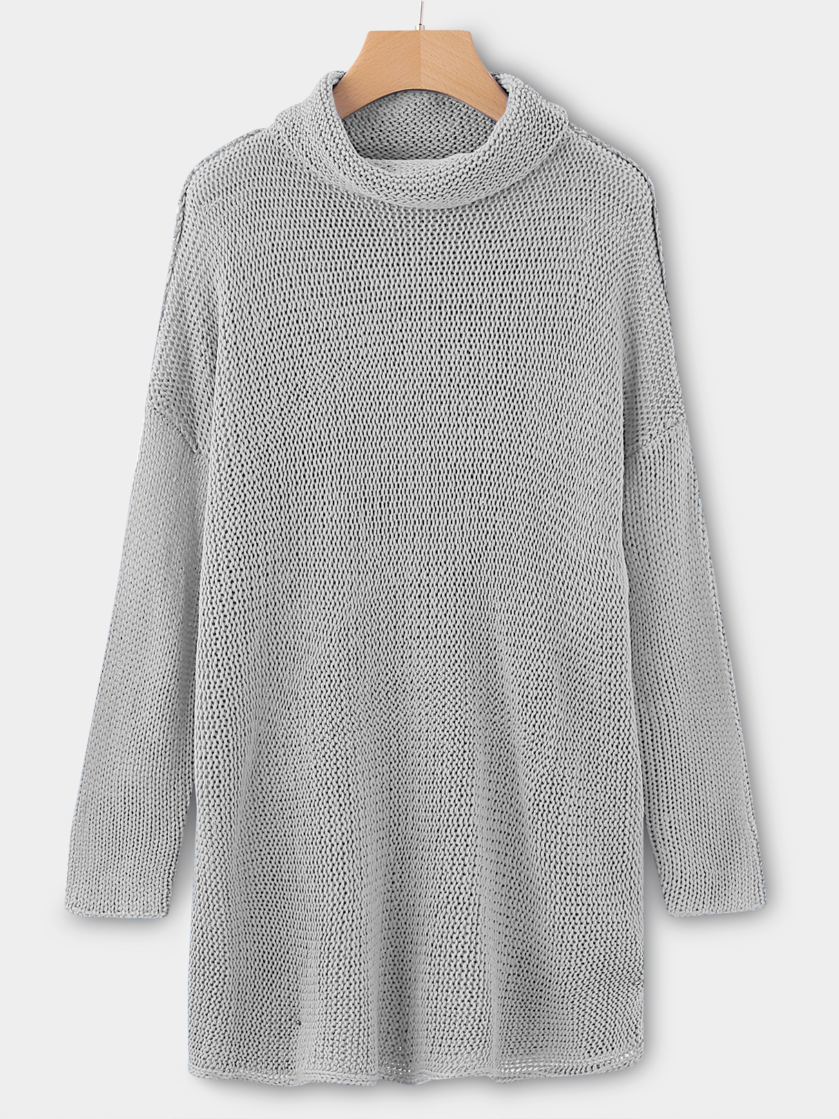 Silver Roll Neck Long Sleeves Sleeves Dropped Shoulder Sweater democracy women s mineral wash shark bite woven with roll tab sleeves