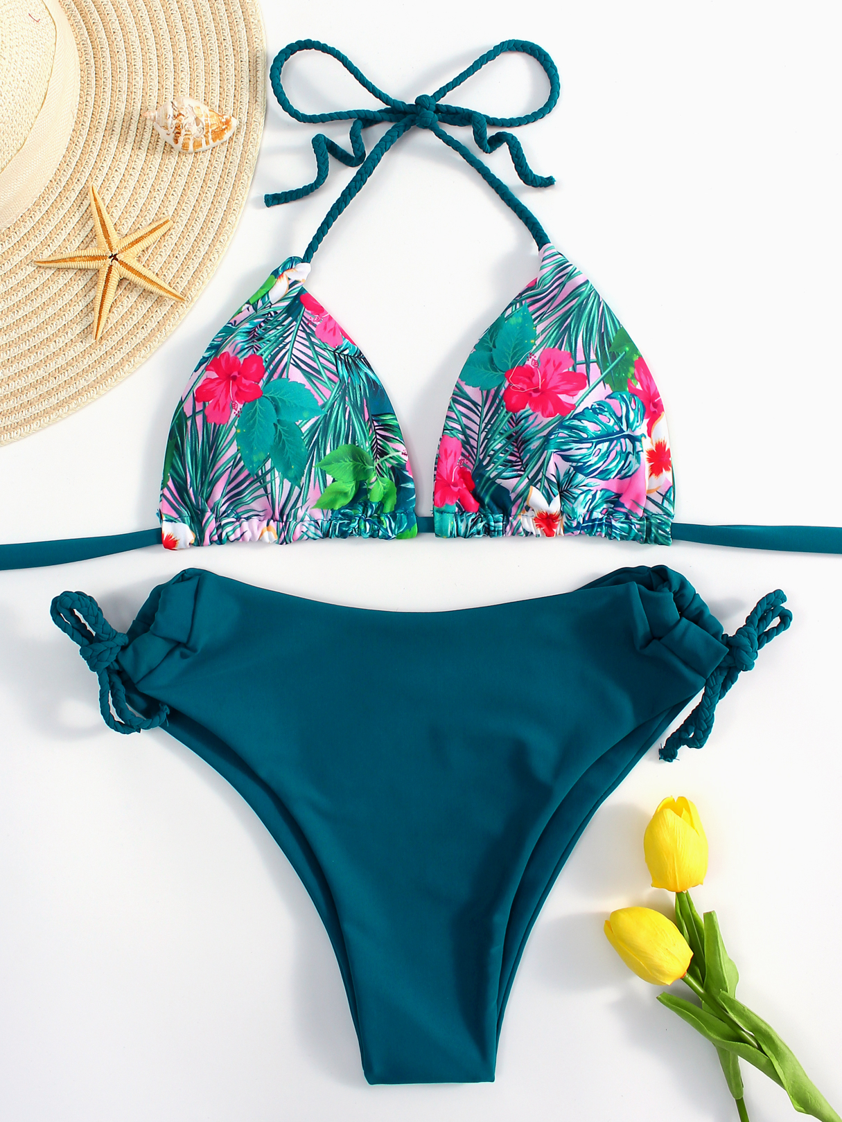 Green Floral Print Backless Halter Tie-up Triangle String Bikinis summer can be folded anti uv sun hat sun protection for children to cover the sun with a large cap on the beach bike travel