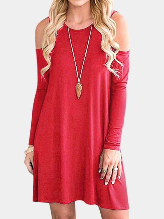 Red Side Pockets Cold Shoulder Long Sleeves Dresses grey side pockets cold shoulder long sleeves dresses