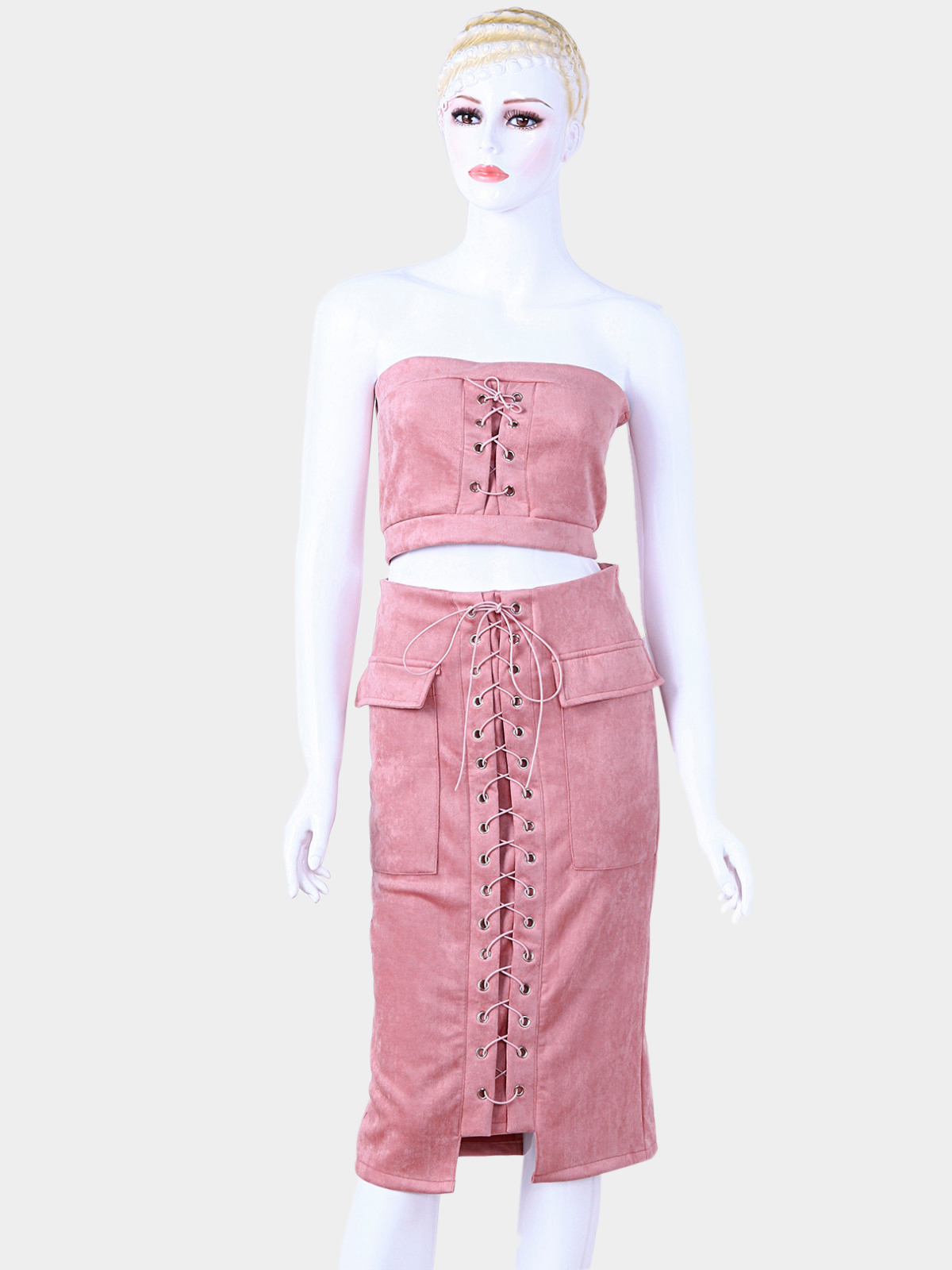 Pink Suede Lace-up Tube Top & Midi Splited Hem Skirt Co-ord burgundy tube top and trumpet trousers co ord