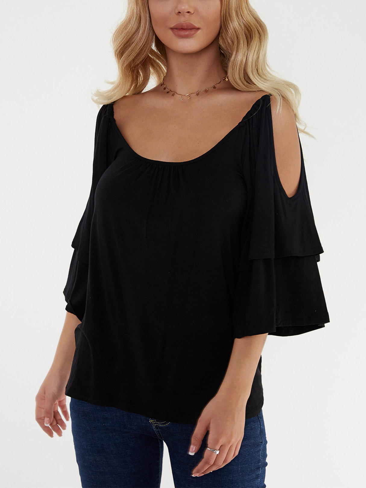 Black Tiered Design Cold Shoulder Half Sleeves T-shirts knit cold shoulder bottoming t shirts in black