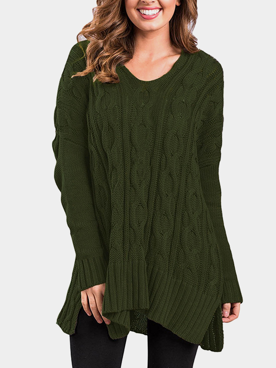 Army Green V-neck Long Sleeves Irregular Hem Loose Sweaters