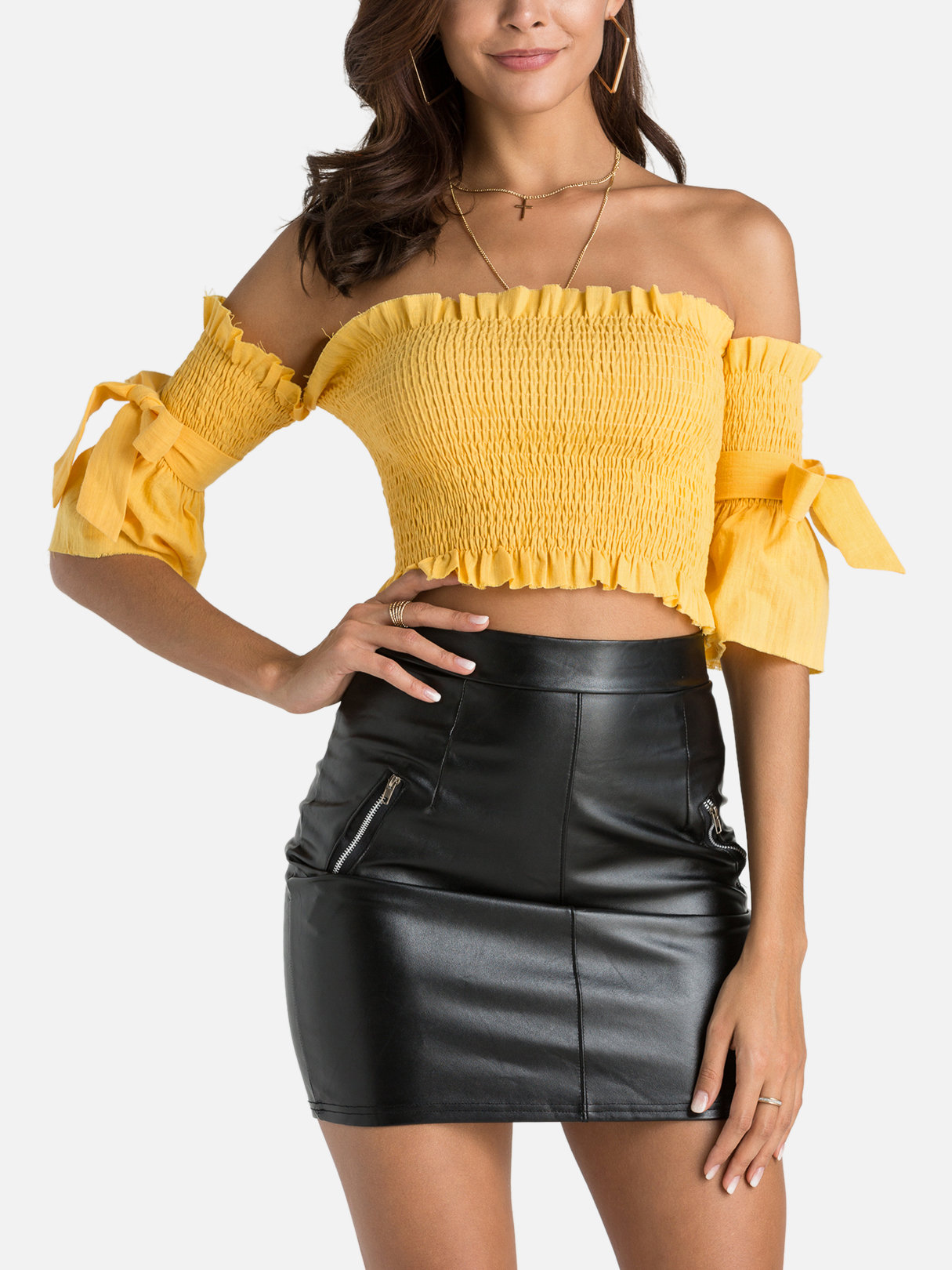 Yellow Lace-up Design Off The Shoulder Flared Sleeves Crop Top casual knitted lace up front crop top in black