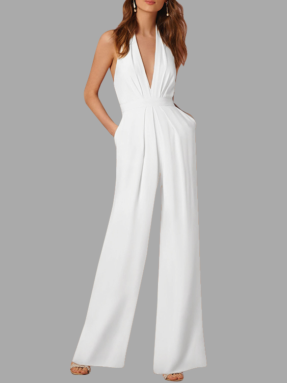 White Open Back Deep V-neck Sleeveless Wide Leg Jumpsuit white open back deep v neck sleeveless wide leg playsuits