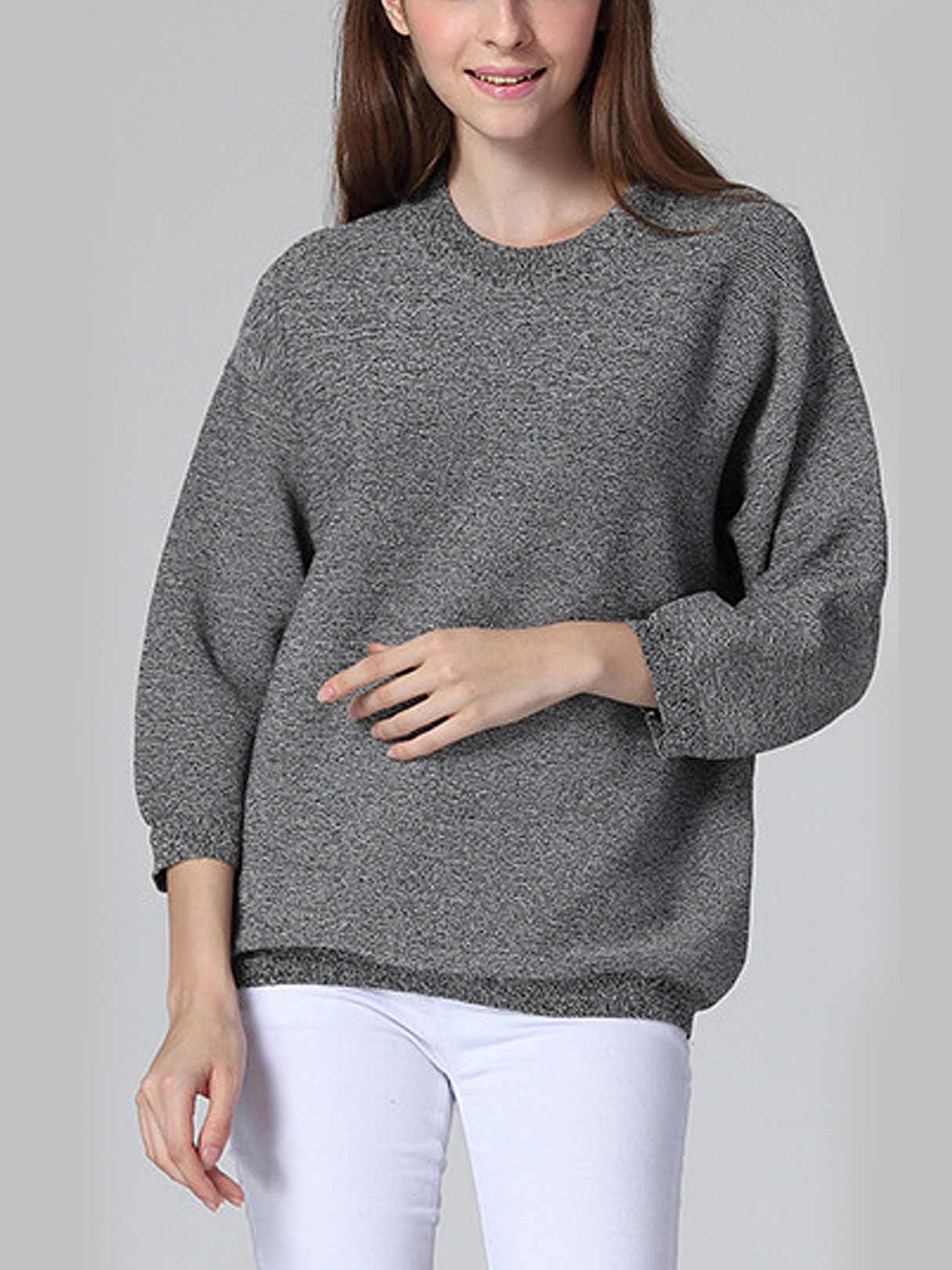Grey Crew Collar Dropped Shoulder Jumper