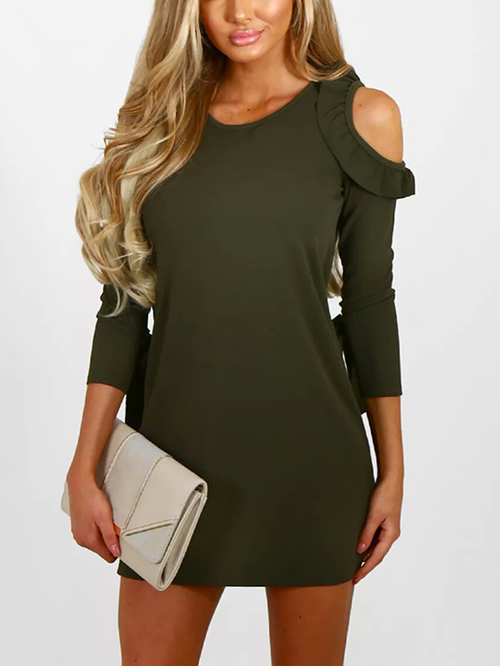 Army Green Round Neck Frills Cold Shoulder Mini Dress army green casual round neck ruffled dress