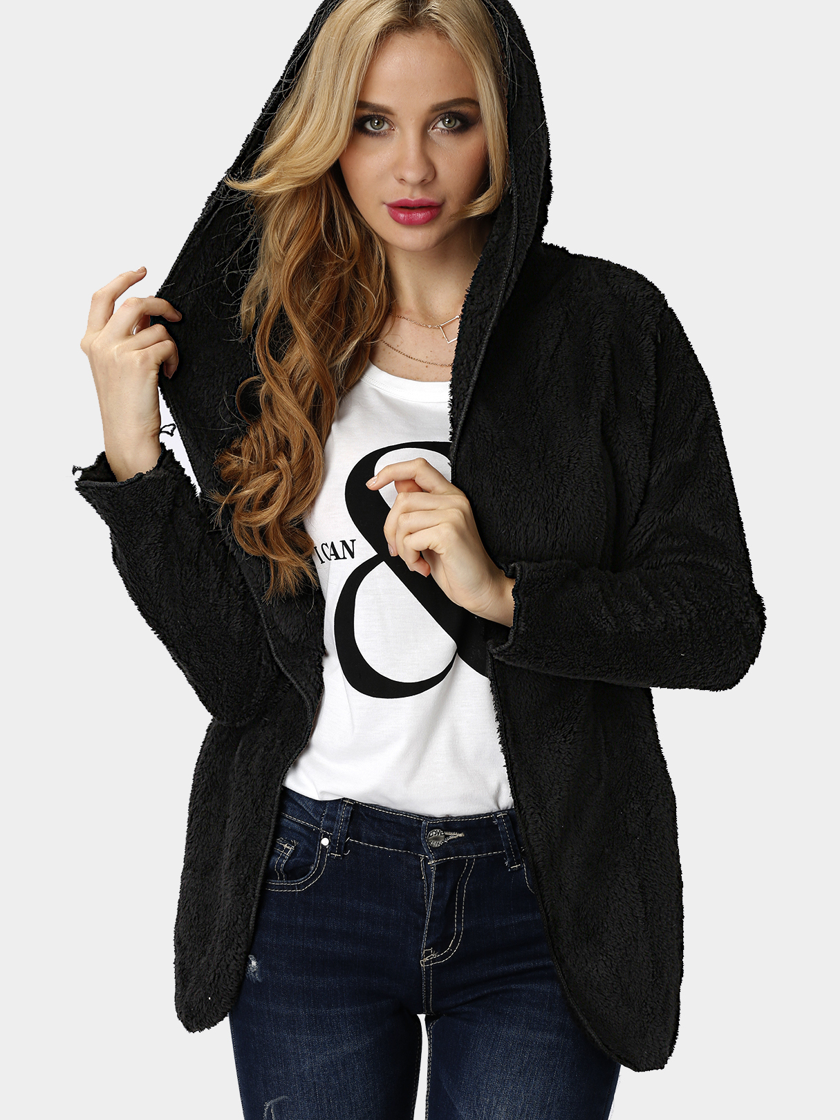 Black Open Front Lace-up Hooded Artificial Fur Coat
