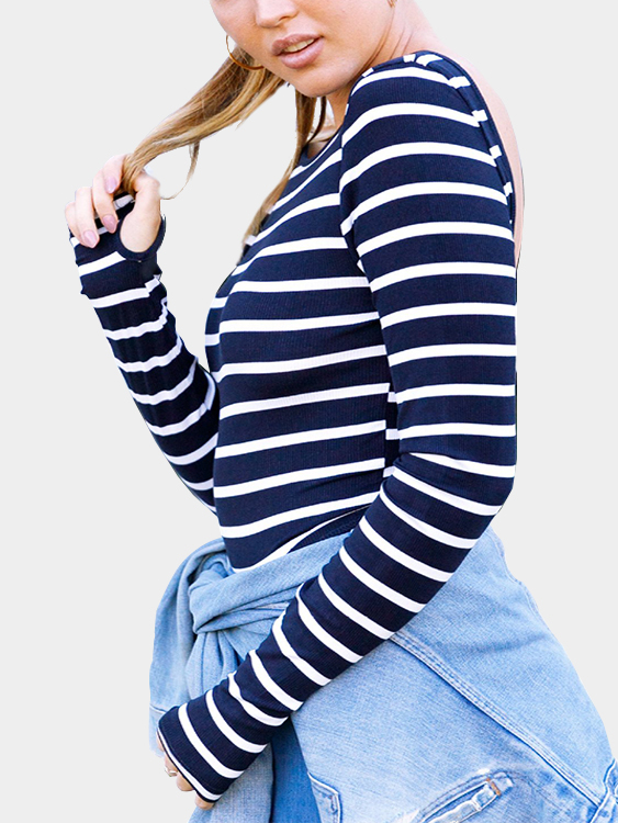 Navy Stripe Backless Long Sleeves T-shirt jim hornickel negotiating success tips and tools for building rapport and dissolving conflict while still getting what you want