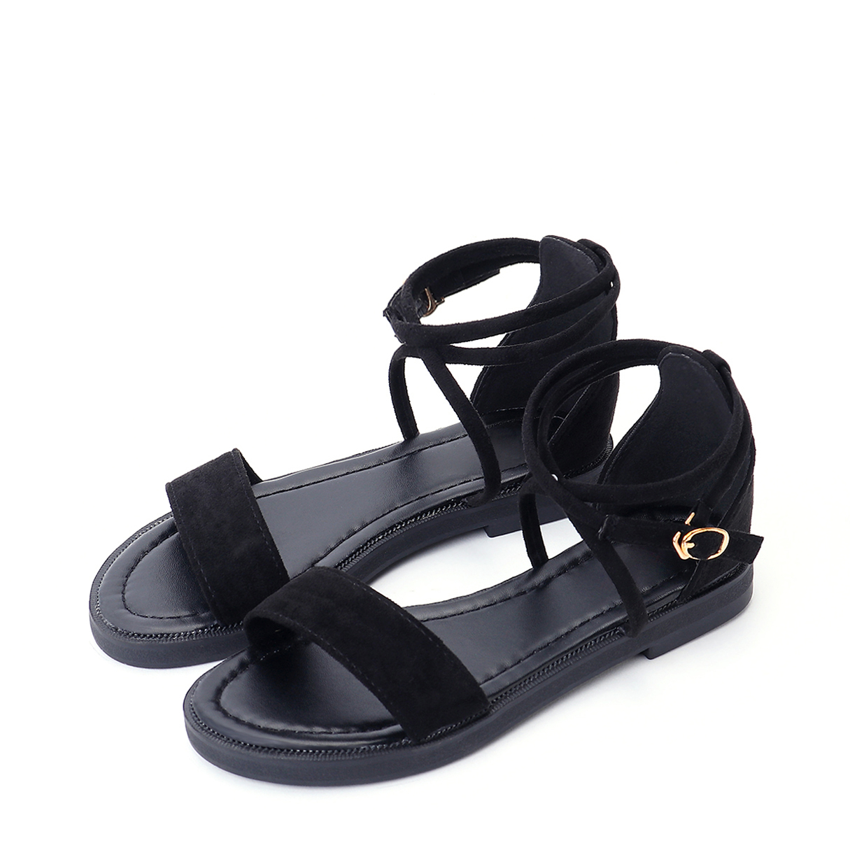 Black Suede Metallic Buckle Gladiator Sandals 2017 summer new fashion women cross tied lace up gladiator sandals red suede high heel sandals