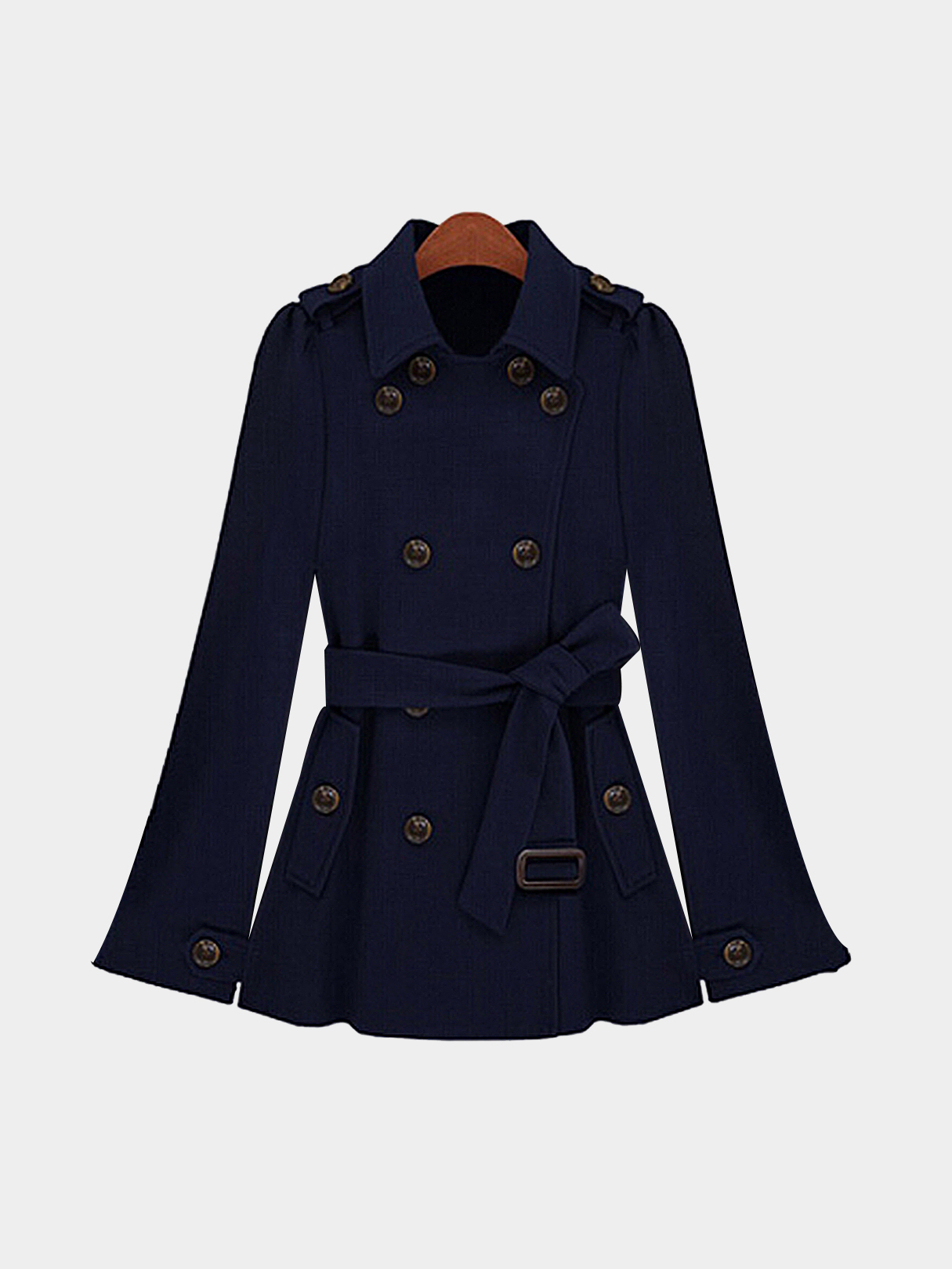 Navy Double Breasted Cape Coat With Belt