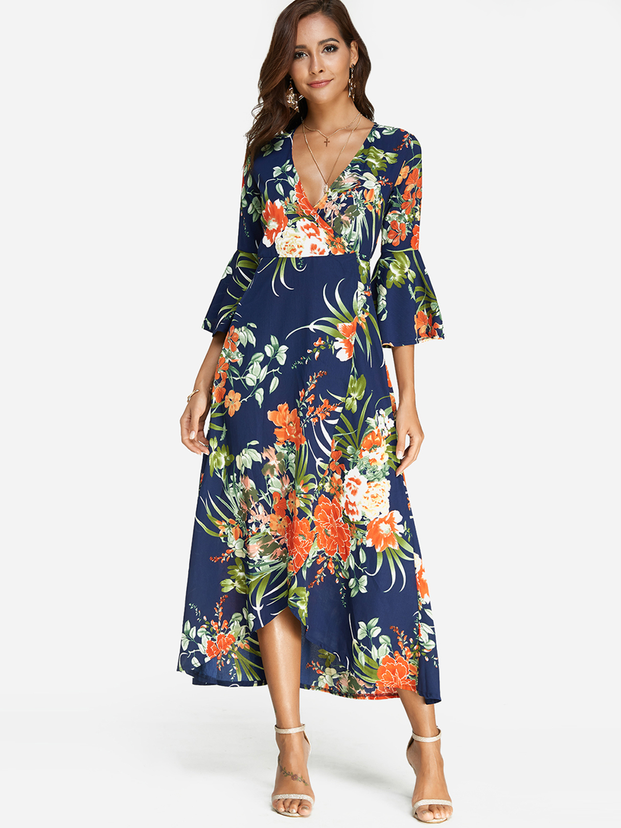 Blue Crossed Front Random Floral Print V-neck Flared Sleeves Dress